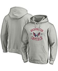 Men's Heathered Gray Washington Capitals Heritage Pullover Hoodie