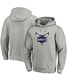 Men's Heathered Gray Charlotte Hornets Team Primary Logo Pullover Hoodie