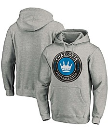 Men's Heathered Gray Charlotte FC Primary Logo Pullover Hoodie