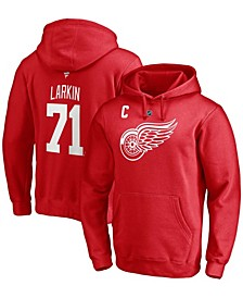 Men's Dylan Larkin Red Detroit Red Wings Captain Patch Authentic Stack Name and Number Pullover Hoodie