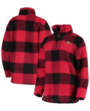 Women's Scarlet San Francisco 49Ers Sherpa Plaid Quarter-Zip Jacket