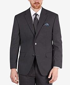 Men's Classic-Fit Dark Gray Check Suit Separate Jacket