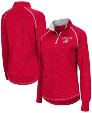 Women's Heathered Scarlet Ohio State Buckeyes Bikram Raglan Quarter-Zip Jacket