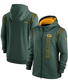 Men's Green Green Bay Packers Sideline Team Performance Full-Zip Hoodie