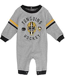Baby Girls and Boys Heather Gray Pittsburgh Penguins Masked Defender Jumper
