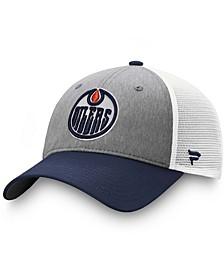 Men's Gray, Navy Edmonton Oilers Team Trucker Snapback Hat