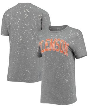 Women's Gray Clemson Tigers Tri-Blend Bleached Splash-Dye T-shirt