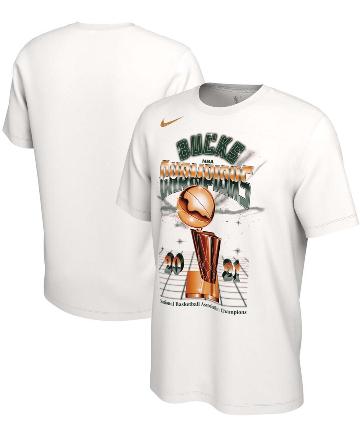Men's White Milwaukee Bucks 2021 Nba Finals Champions Celebration Expressive T-shirt