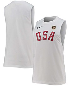 Women's White Team USA Muscle Heritage Tri-Blend Performance Tank Top