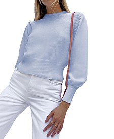 Jamie Cotton Puff-Sleeve Sweater