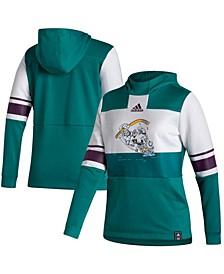 Women's White-Green Anaheim Ducks Reverse Retro Pullover Hoodie