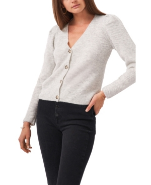 1.state Puff Long Sleeve Button Front Cardigan Sweater