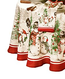 Snowman Winterland Holiday Snowflake Oval Tablecloth