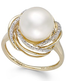 Cultured Freshwater Pearl (10mm) and Diamond (1/10 ct. t.w.) Swirl Ring in 14k Gold