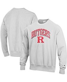 Men's Gray Rutgers Scarlet Knights Arch Over Logo Reverse Weave Pullover Sweatshirt