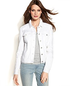 Long-Sleeve Denim Jacket, White Wash