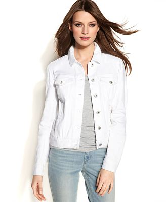 TWO by Vince Camuto Long-Sleeve Denim Jacket, White Wash - Jackets ...