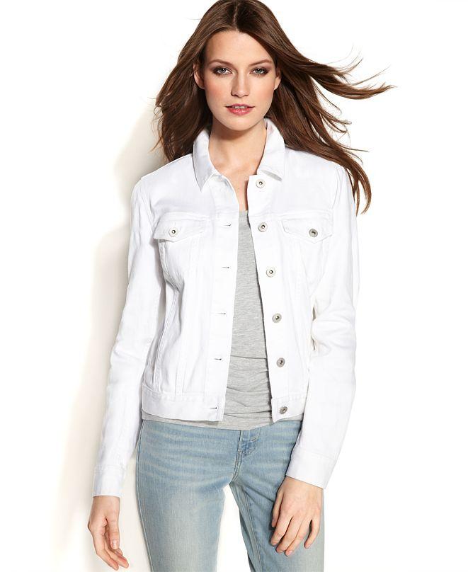 Vince Camuto Long-Sleeve Denim Jacket, White Wash