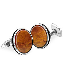 M-Clip Bordered Round Wood Cufflinks