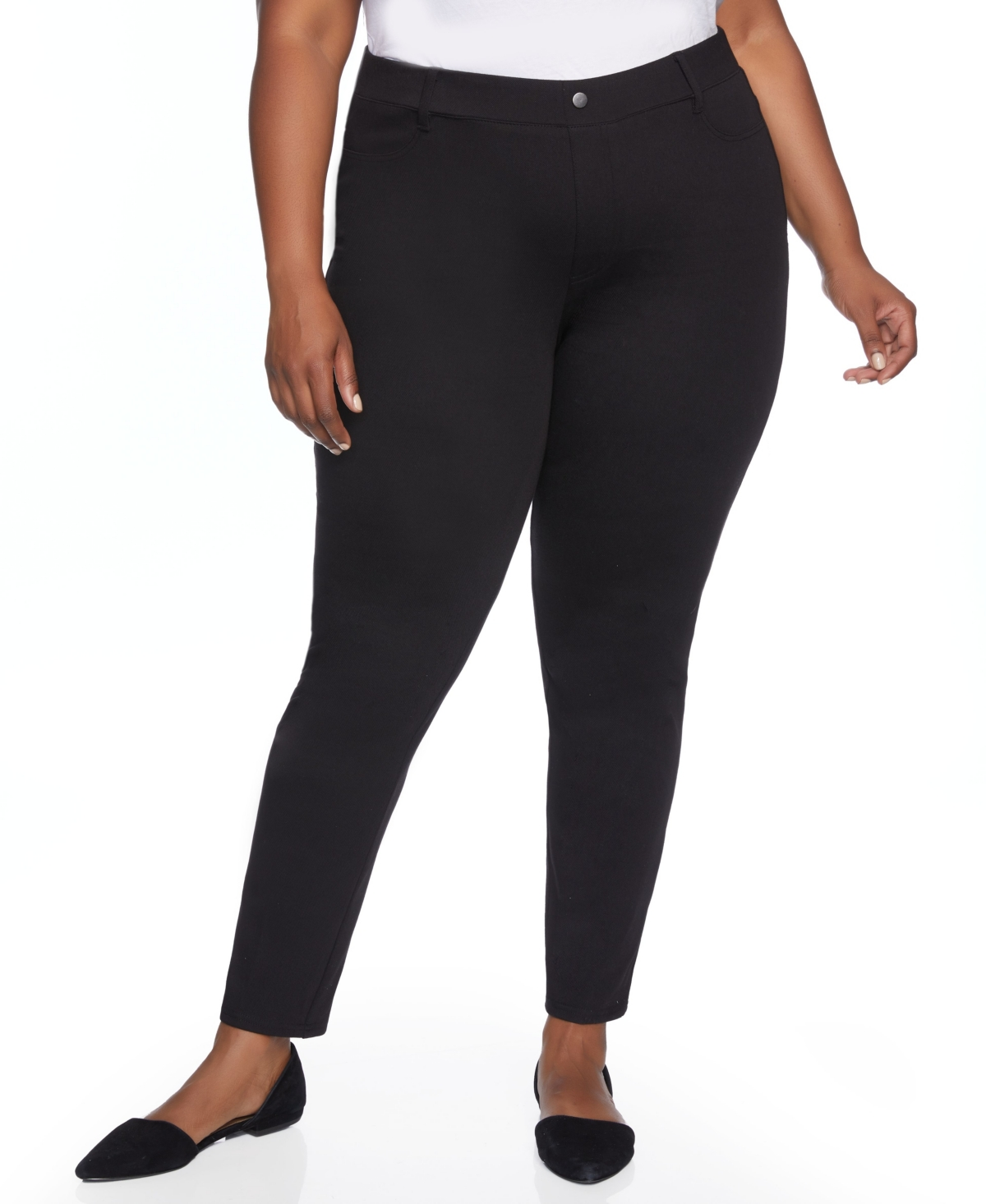 Plus Size Faux Pocket Pull On Skinny Pant