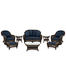 Monterey Outdoor Wicker 8-Pc. Seating Set (1 Loveseat, 2 Swivel Chairs, 2 Ottomans, 2 End Tables & 1 Coffee Table) with Custom Sunbrella®, Created for Macy's