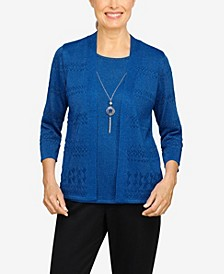 Women's Missy Classics Pointelle Two for One Sweater