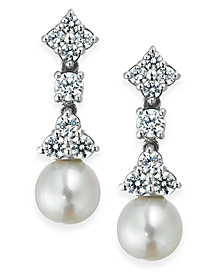 Arabella Bridal Cultured Freshwater Pearl (7mm) and Swarovski Zirconia (1-5/8 ct. t.w.) Drop Earrings in Sterling Silver
