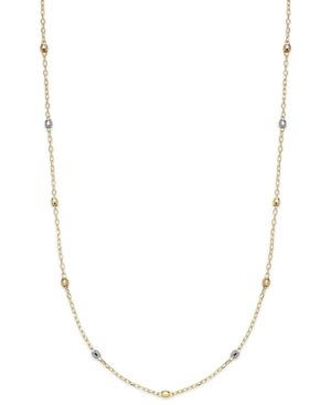 "14k Tri-Tone Beaded Station Chain 16"" Necklace"