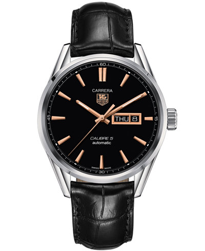 TAG Heuer Men's Swiss Automatic Carrera Calibre 5 Day-Date Black Leather Strap Watch 41mm WAR201C.FC6266