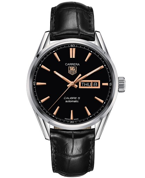 9435e303f083 ... TAG Heuer Men s Swiss Automatic Carrera Calibre 5 Day-Date Black  Leather Strap Watch 41mm ...