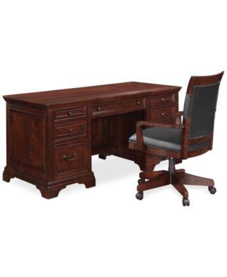 Cambridge Home Office Furniture 2 Piece Set (Executive Desk and Desk Chair)  sc 1 st  Macyu0027s & Furniture CLOSEOUT! Cambridge Home Office Furniture Collection ...