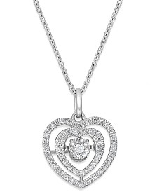 Twinkling Diamond Star™ Diamond Nested Heart Pendant Necklace in 10k White Gold (1/5 ct. t.w.)