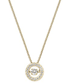 Twinkling Diamond Star™ Diamond Circle Pendant Necklace in 10k Yellow or White Gold (1/4 ct. t.w.)