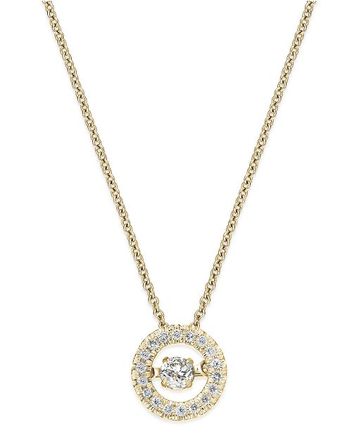 Line of Love Twinkling Diamond Star™ Diamond Circle Pendant Necklace in 10k Yellow or White Gold (1/4 ct. t.w.)