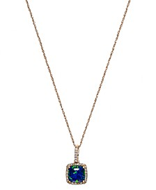 Opal (1-1/6 ct. t.w.) and Diamond (1/6 ct. t.w.) Pendant Necklace in 14k Rose Gold