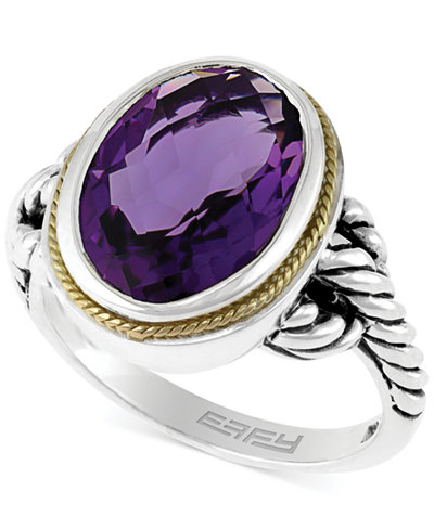 Balissima by EFFY Amethyst Oval Ring in Sterling Silver and 18k Gold (5-1/4 ct. t.w.)
