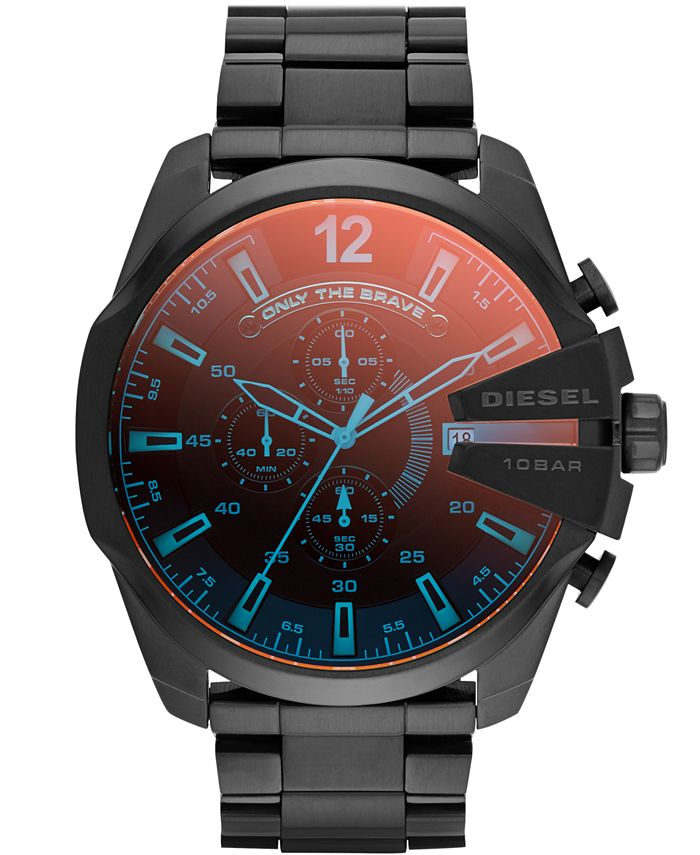 Diesel - Men's Chronograph Iridescent Crystal Mega Chief Black Ion-Plated Stainless Steel Bracelet Watch 59x51mm DZ4318