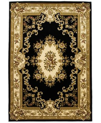 "CLOSEOUT! Corinthian 5310 Black/Ivory Aubusson 7'7"" x 10'10"" Area Rug"