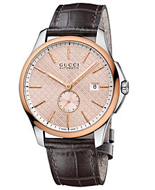 Gucci Men's Swiss Automatic G-Timeless Brown Leather Strap Watch 40mm YA126314