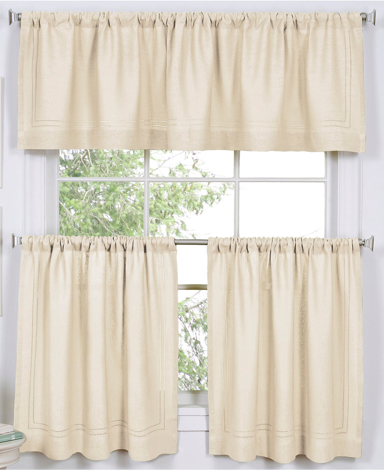 Macys Curtains For Living Room Elrene Cameron Cafe Curtain Collection Easy Care Linen Look