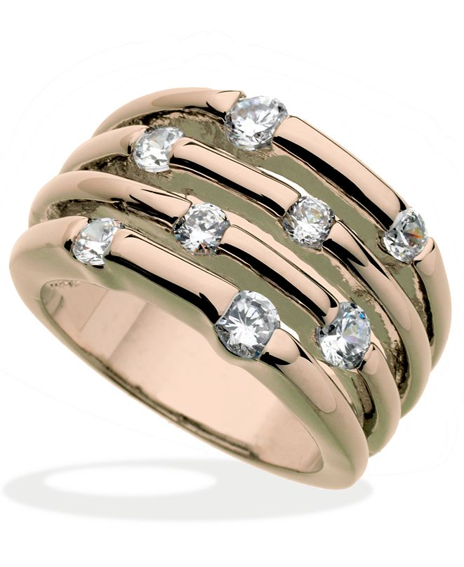 GUESS Rose Gold-Tone Multirow Crystal Stone Ring