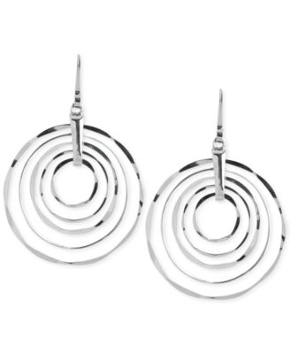 Large Silver-Tone Hammered Ring Orbital Earrings