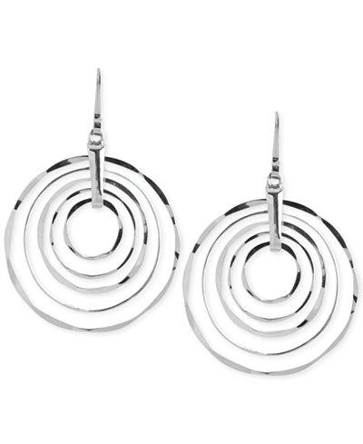 Robert Lee Morris Soho Large Silver-Tone Hammered Ring Orbital Earrings