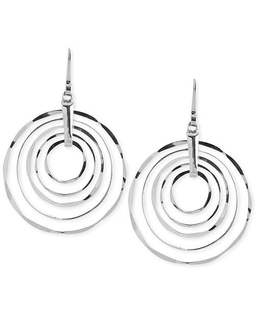 Robert Lee Morris Soho Large Silver-Tone Hammered Ring Orbital Earrings