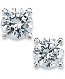 X3 Certified Diamond Stud Earrings in 18k White Gold (1-1/2 ct. t.w.), Created for Macy's
