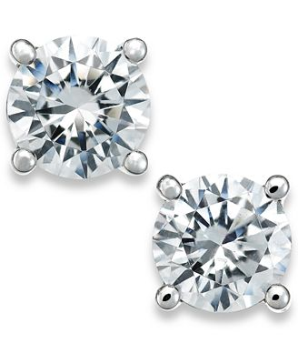 X3 Certified Diamond Stud Earrings In 18k White Gold Created For