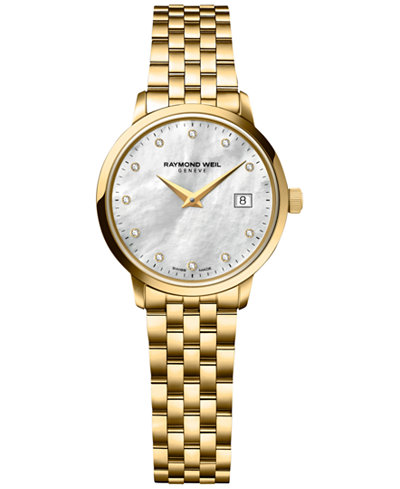 RAYMOND WEIL Women's Swiss Toccata Diamond Accent Gold PVD-Covered Stainless Steel Bracelet Watch 29mm 5988-P-97081