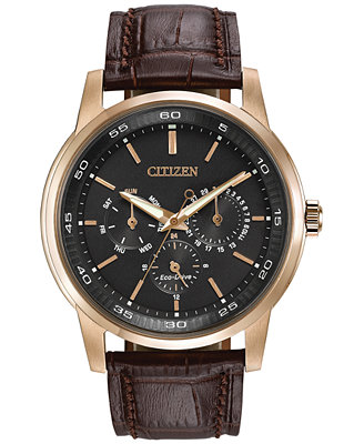 Citizen Men S Dress Eco Drive Black Brown Leather Strap