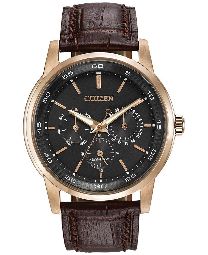 Citizen - Men's Dress Eco-Drive Black-Brown Leather Strap Watch 44mm BU2013-08E