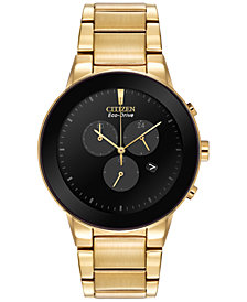 Citizen Men's Chronograph Axiom Eco-Drive Gold-Tone Stainless Steel Bracelet Watch 43mm AT2242-55E